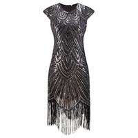 Wholesale 2017 Summer Vintage s Flapper Great Gatsby Sequin Fringe Party Dress Plus Size Mesh Dress Women Clothing Vestidos De Fiesta