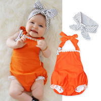Wholesale Newborns Girls Rompers With Dot Headband Fashion Halter Onesies Outfits Sets For Babies Summer Costumes