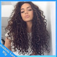 Wholesale Fast high Quality synthetic wigs heat resistant fiber Afro curl kinky curly Synthetic lace front wig for Black Women Instock
