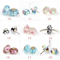 Wholesale 2017 Newest fashion loose beads Sterling Silver Murano Glass Charm Bead For Pandora Bracelet Epacket free in stock