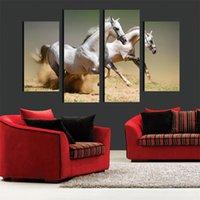 Конные фотографии Цены-4шт бегущий конь животных стены искусства Изображение Меламин Губка Board рамки холст картины Свеча Picture Room Decor Art Paint