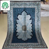 antique rug blue - 3 x4 Antique Persian Silk Black blue Carpet Hand Knotted Turkish Oriental Rugs Houston for Living room
