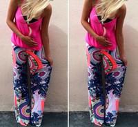 Wholesale 2017 Palazzo Pants Women High Waist Wide Leg Bohemian Boho Pants Pantalon Palazzo Mujer Harem Ethnic Print Sweatpants Women