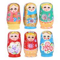 babushka fashion - 5pcs Set Wooden Russian Dolls Nesting Babushka Matryoshka Hand Paint Doll Toys Random Color