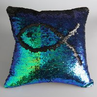 Wholesale Sequin Pillow Case Sequin Pillowslip Tone Color Pillow Case Reversible Cushion Cover Home Sofa Car Decor Mermaid Pillow cm