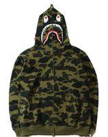 Wholesale Men s Sportswear Fashion Brand Hoodies Bap Shark Outerwear Jacket Brand Men Hooded Zipper Sweatshirts Kangaroo pocket