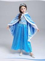 Wholesale Lovely And Beautiful Autumn Winter Princess Dress Warm Christmas Party Frozen Elsa Girls Ankle Length Dress CSQ04
