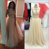 bamboo flooring sample - Champagne Sexy Long Two Pieces Prom Dresses High Neck Crystal Bead Formal Party Gowns Real Sample Piece Prom Dress