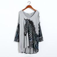 achat en gros de zèbre t-shirt pour les femmes-Grossiste XL-8XL nouveauté Zebra Print Top femmes de grande taille Dolman manches Tee Tee Shirt Tunique grande taille Plus Femmes Vêtements 2016 Automne