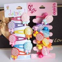 6pcs / lot filles de résine de sucre-pain Barrettes enfant des bonbons pinces à cheveux clips clips élastiques en caoutchouc ponytail cheveux accessoires