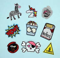 Patches apple wow - WOW Cute Embroidery Patches Apple Zebra Unicorn Head Skull BOX Iron On Patches Iron On Patches for Kids Clothes Bag Customized MOQ
