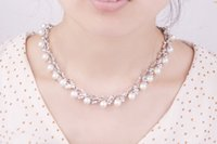 Wholesale 18K Gold Plated Bridal Jewelery Sets Pearl Necklace Wedding Accessories High Quality Pierced Alloy Rhinestone Bridal Jewelry Sets