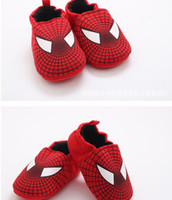 Wholesale Not drop Spider Man Style Baby Shoes Infant soft bottom cotton Rubber shoes Toddler First Walker Shoe MOQ Pairs