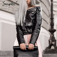 Wholesale Simplee Off shoulder faux leather jacket women motorcycle jacket autumn winter outerwear coats Short zipper basic jackets