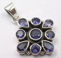 art jewelery - Silver Sparkling IOLITE GEMS ART Pendant CM MULTISTONE JEWELERY