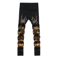 achat en gros de pantalon de cow-boy jaune-Mode masculine de dessin coloré cow-boy print jeans Slim noir stretch jaune denim crayon pantalon Long pantalon