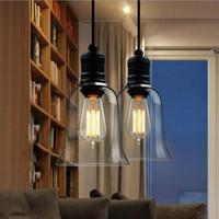 bell offices - Modern Crystal Bell Glass Pendant Light Retro Industrial Style Pendant Lamp Edison Bulbs E27 Lighting Fixture Bar Dining room Loft Lamps