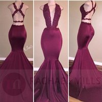 Wholesale Sexy Burgundy Mermaid Prom Dresses Lace Appliques Plunging V Neck Backless Ruched Long Party Occasion Celebrity Gowns Evening Dresses