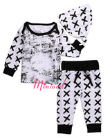 baby white tshirt - Kids Boys Striped Clothing Baby Pieces Sets Children Autumn Suits Hat Tshirt Pants