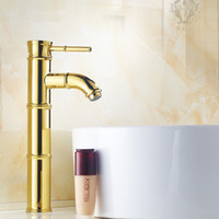 Gold antique gold taps - Plating Gold Water Taps Mixer Euopean Antique Bamboo Basin Faucets Hot and Cold Water Single Handle Art Golden Mixer