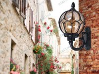al por mayor lámpara de pared al aire libre balcón-Nimi590-1 Lámpara de pared retro europea LED de luz al aire libre de jardín Balcón de vidrio lámpara de luces Lámparas de luz impermeable Vintage Aisle Iluminación