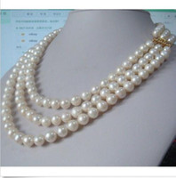 Wholesale Charming row natural mm south sea white pearl necklace quot quot quot K gold