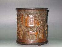 bamboo brush pot - China old Bamboo Brush Pot Bamboo carving figure Horse pine tree Have mark