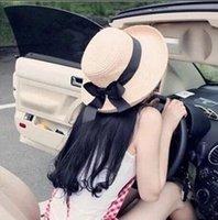 Sombrero de Sol de las nuevas mujeres de verano Negro Bowknot cinta Flanging sombrero de paja Gorras de playa Head circunferencia 56-58 cm