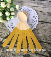 Wholesale Gold Glitter Wooden Spoon Gold Glitter Silverware Glitter Party Wood Utensils for Birthday Wedding Party