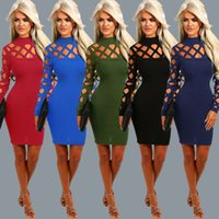 Wholesale FeeBee Women Solid Stylish Sexy Hollow out Long Sleeve Mock Neck Bodycon Party Dress