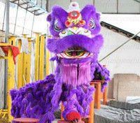 M adult handmade costumes - New handmade adult purple Lion Dance mascot Costume made of pure wool Southern Lion Adult size chinese Folk costume