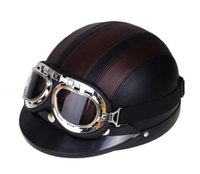 Wholesale Motorcycle Helmet ABS Detachable Visor Goggles Safety Brown Black Durable Helmets Motocross Half Helmets cascos para moto