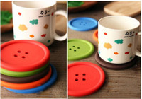 bamboo dining room sets - set Cute Silicone Round Button Coaster Cup Mats Home Table Decor Coffee Drink Placemat Dining Room Decor