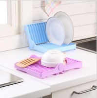 Wholesale Hotsale Kitchen Storage Holders Foldable Plastic Draining Tray Dish Drainer Drying Rack Tray Sink Holder Basket Dish Rack
