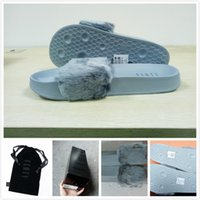 Wholesale With Box and Dust Bags RIHANNA FUR LEADCAT FENTY SLIDES MEN SLIPPERS House Winter Slipper Home Shoes Mens Warm Slippers Chinelo