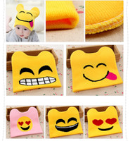 baby embroidery designs - Autumn Winter Warm Hats Design Embroidery Emoji Cartoon Hats Newborn Baby Boys Girls Caps Fashion Accessories