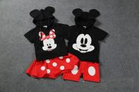 Precio de Faldas para las muchachas de los niños-El vestido de dos piezas de la camiseta hoodies + shorts del verano del juego de la falda de los niños de Mickey Minnie de los pantalones de la ropa de los niños del muchacho o de la muchacha de la manera se viste