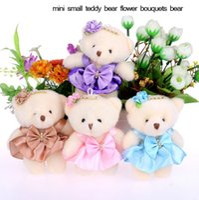 Wholesale Small Mini Toy Cars - 2017 new 12CM cotton kid Christmas toys plush doll mini small teddy bear flower bouquets bear for wedding, car Interior Decorations