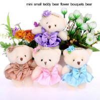 Wholesale 2017 new CM cotton kid Christmas toys plush doll mini small teddy bear flower bouquets bear for wedding car Interior Decorations