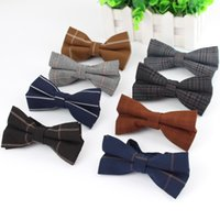 artificial wool fabric - High Quality Mens Fashion Diamond Check Artificial Fabric Of Business Suit Striped Skinny Butterfly Men Bow Ties Designer Cravat
