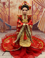 ancient chinese dresses - 33CM Handmade Chinese Ancient Red Wedding Dress Doll Jointed Doll Bjd Princess Doll Girls Toys Birthday Gift Handicraft