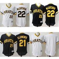 Wholesale Men s Throwback Pittsburgh Pirates Roberto Clemente Andrew McCutchen jersey Retro jerseys Stitched Logos Flexbase White Black