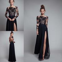 Wholesale Berta Long Black Prom Dresses Sheer Lace Long Sleeves Bateau Backless A Line Chiffon Floor Length Side Split Evening Celebrity Gowns