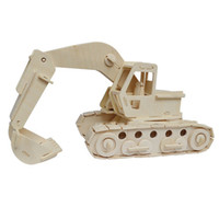 Wholesale MICHLEY pc D Wooden Construction Jigsw Puzzle Kid Educational Woodcraft DIY Kit Toy Simulation Models Excavator T0055 waji