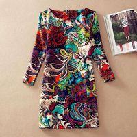 Wholesale Plus Size Women Clothing Spring Fall Fashion Flower Print Women Dress Ladies Long Sleeve Casual Autumn Dresses Vestidos