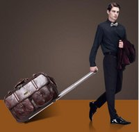 Wholesale Foldable New Men Women leather Luggage Vintage Suitcase Durable boarding package Business Travel Bags