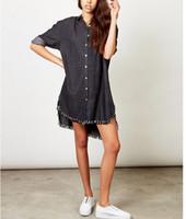 al por mayor vestidos de verano de compras-Online Shopping 2017 Jeans Tejido de algodón manga larga Ultimos diseños Moda Verano Ladies Shirt Casual Vestido Vestido Mujer