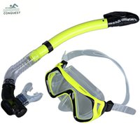 Wholesale wimming Diving Diving Masks CONQUEST Professional Silicone Scuba Diving Mask Snorkel Glasses Set Tempered glass mask kit Swimming Fishin