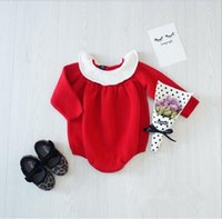 Wholesale Baby Rompers Long Sleeve Overalls Baby Jumpsuit Peter Pan Collar Knitted Princess Jumpsuit Baby Clothing M Y Newborn Romper