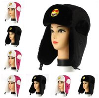 Wholesale Emoji Trapper Hats QQ Expression Pattern Warm Ear Muffs Caps Women Men Lovers Winter Fashion Caps